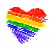 a rainbow heart on a white background