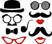 stock photo of bowler hat  - set of mustaches - JPG