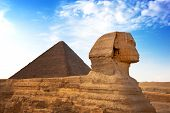 Sphinx and Pyramid Giza, Egypt. The Great Pyramid of Giza is one of the original Seven Wonders of th