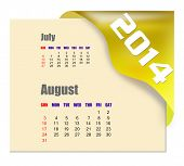 August of 2014 calendar isolated on white background