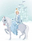 Winter design of Beautiful princess riding horse. Raster version.
