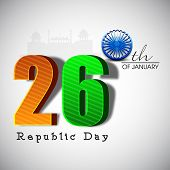 picture of ashoka  - Happy Indian Republic Day concept with stylish text in national flag color and Ashoka Wheel on grey background - JPG