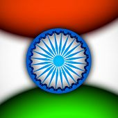 stock photo of ashoka  - Happy Indian Republic Day concept with Ashoka Wheel on national flag colors background - JPG