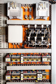 picture of rectifier  - Electrical panel at a assembly line factory - JPG