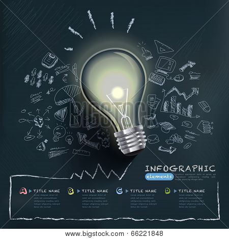 Creative Infographics Template With Bulb poster