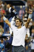 Twelve times Grand Slam champion Rafael Nadal celebrates victory after semifinal match US Open 2013