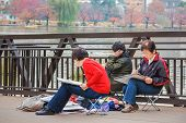 Japanese Seniors at Ueno Park in Tokyo