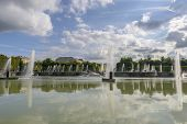 stock photo of versaille  - View of Versailles Chateau gardens famous fountains near Paris France - JPG