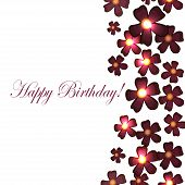 Vector Card With Birthday Flowers With Burgundy