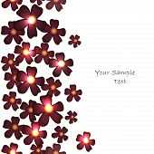 Vector Vertical Seamless Pattern With Burgundy Flowers
