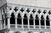 Closeup of Doge s Palace white tracery facade in Venice, Italy