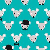 Seamless little hipster mice cute mouse illustration background pattern in vector