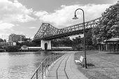 Brisbane Story Bridge from Captain Burke Park - Black & White