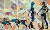 Colorful mosaic illustration of a man and woman and their pet dogs interacting