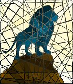 Mosaic illustration of a male lion standing on a rocky outcrop