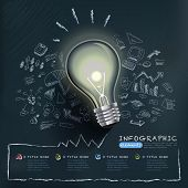 pic of thought  - creative infographics template with bulb can be used for infographics and website layout vector concept vector illustration - JPG