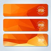 Orange website header or banner set template of triangle pattern