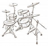 stock photo of drum-kit  - Vector illustration of Drum kit - JPG