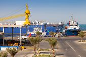 Ras Tanura, Saudi Arabia - May 14, 2014: Port View With Moored Ships, Saudi Arabia