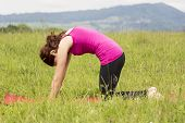 Woman Doing Cat Pose In Yoga Outdoors