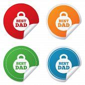 Best dad sign icon. Award weight symbol.