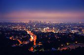 stock photo of blue angels  - Los Angeles skyline at night - JPG