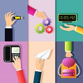 stock photo of memory stick  - Business hands gestures design elements of holding memory stick cog wheel digital clock isolated vector illustration - JPG