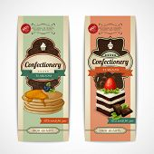 pic of crepes  - Decorative sweets vertical retro tearoom banners collection with crepes and sponge cake isolated vector illustration - JPG