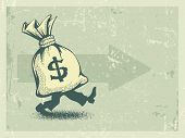 Full sack of money walking forward in retro style. Eps10 vector illustration