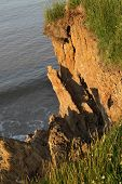 Soft clay cliff erosion.
