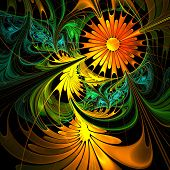 Flower Background. Orange And Green Palette. Fractal Design. Computer Generated Graphics.
