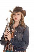 Woman Gun Holding Denim Jacket