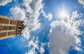 Giralda and blue sky in seville
