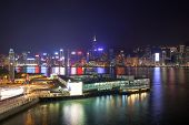 Kowloon Ferry Pier At Night