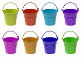 picture of blue things  - Set of multicolored empty buckets isolated on white background - JPG