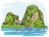 Thailand beach landscape, Limestone rocks, Long tail boats, Hand drawn illustration