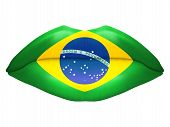 Beautiful luscious lips with flag of Brazil texture