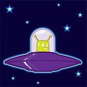 Green alien saucer