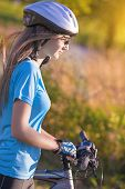 Female Cycling Athlet In Professional Cycling Gear