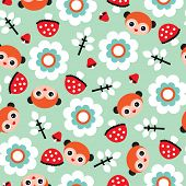 Seamless lemurs monkey woodland illustration background pattern for kids in vector