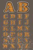 Textured hand drawn alphabet, vector, color version