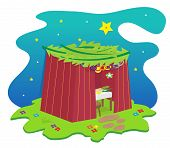 stock photo of sukkot  - Sukkah with decorations under the stars - JPG