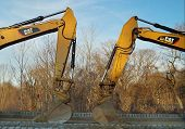 Excavators on Construction Site