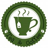 Illustration of a round tea and coffee label on a white background