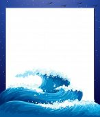 Illustration of an empty paper template with giant waves