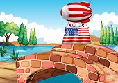 Illustration of a balloon and the flag of the United States above the bridge