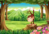 Illustration of a monkey above the stump