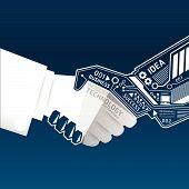 Creative Handshake Abstract Circuit Technology Infographic.vector