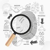 stock photo of fingerprint  - Business Fingerprint doodles line drawing success strategy plan idea with magnifier - JPG
