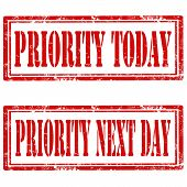 stock photo of priorities  - Set of grunge rubber stamps with text Priority Today and Priority Next Day - JPG